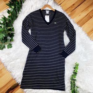 b3e1488db43 Lacoste. Lacoste Navy Striped Pure Wool Sweater Dress Midi